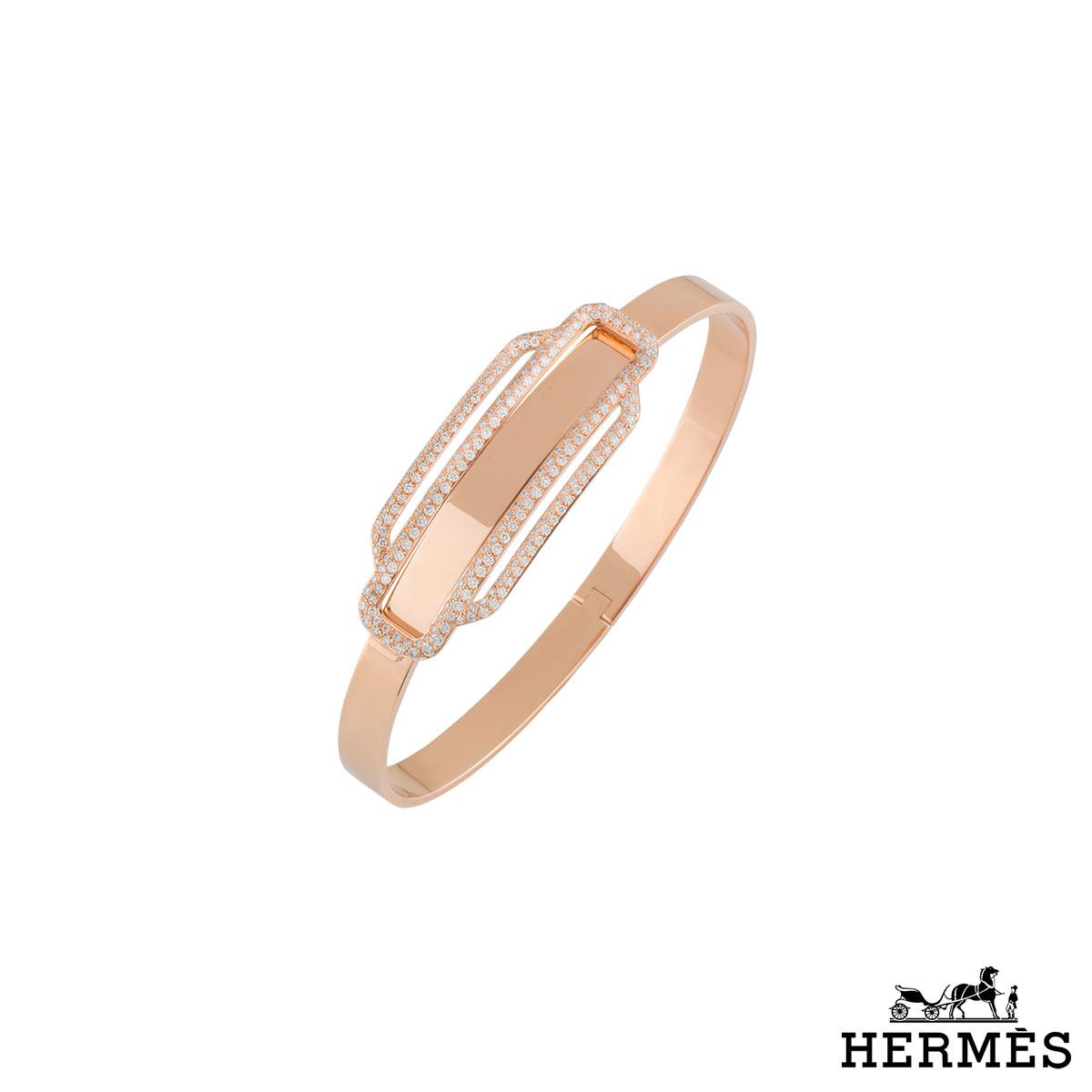Hermes Rose Gold Diamond Bangle